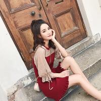 卡贝琳女2019新款中袖红色连衣裙夏仙女裙超仙小个子心机裙子女甜美设计感连衣裙女