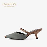 【 限时4折】哈森夏季皮带扣猫跟方头高跟拖鞋HM96402