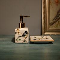 中式陶瓷卫生间洗手液瓶创意家用皂碟二件套卫浴洗漱套装结婚用品