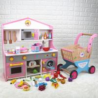 生日礼物木制过家家儿童厨房玩具套装女孩切切看烧饭煮饭仿真厨具 日式B款+