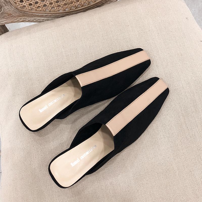 网红同款包头拖鞋外穿2019新款韩版百搭拼色细跟低跟真皮穆勒鞋女