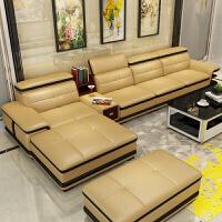 真皮沙发头层牛皮 新款扶手皮艺沙发简约进口现代客厅 沙发组合ll +储物边几+脚踏 组合