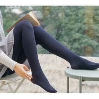 加绒加厚连裤袜女秋冬季螺旋纹打底裤黑色踩脚竖条纹连裤袜女外穿