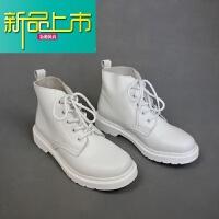 新品上市帅情侣马丁靴男士真皮大头高帮鞋工装靴韩版纯英伦风短靴 白色