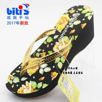 新款Bitis越南鞋平仙拖鞋高跟坡跟女人字拖鞋潮休闲拖鞋