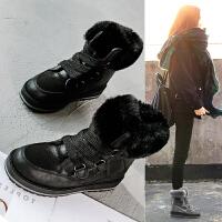雪地靴女2018冬季新品短筒靴子短靴皮毛一体保暖加绒棉鞋面包鞋