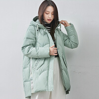 yaloo/雅鹿羽绒服女2019冬装新款韩版时尚宽松小个子连帽外套潮DH
