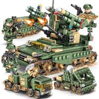 兼容乐高军事系列4合1合体坦克导弹车模型立体组装拼插拼装积木启蒙益智男孩儿童玩具礼物 导弹车84056四合一(643块