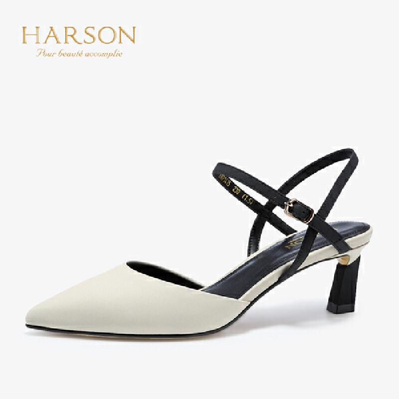 【 限时3折】哈森 2019春季新款羊皮尖头单鞋女 一字扣带后空高跟鞋女HM91415