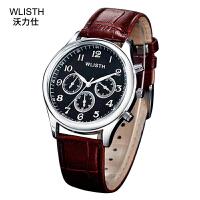 沃力仕手表 男士腕表皮带仿三眼石英表学生男表皮带手表