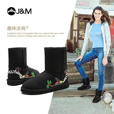 【低价秒杀】JM快乐玛丽冬季加绒保暖皮毛一体纯羊毛靴子平底女雪地靴子58091W