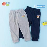 贝贝怡春季2021新品男女童纯棉简约休闲长裤婴幼儿小童外出长裤子