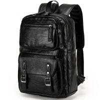 新款男士双肩背包男学院风双背包男女书包电脑包旅行包包 黑色