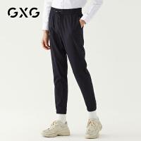 GXG男装 秋季男士时尚韩版流行修身束脚黑色休闲长裤男