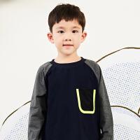 【秒杀价:108元】马拉丁童装男童t恤春装2020新款休闲插肩袖撞色休闲长袖t恤