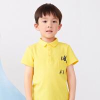 【秒杀价:129元】马拉丁童装男童T恤2020夏装新款撞色条纹POLO领短袖T恤