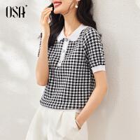 【2件1.5折价:179元】OSA欧莎2021新款黑白格子针织衫短袖女士薄款修身小香风polo领上衣夏