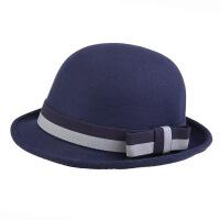 韩国纯羊毛呢小礼帽 英伦复古蝴蝶结圆顶爵士毡帽盆帽子女