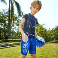 【2件2.5折:75元】探路者儿童童装 新款户外男童排汗透气速干衣裤套装QAXG83027
