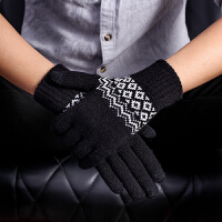 触屏手套男士冬季学生针织毛线保暖加厚加绒骑车行玩手机游戏五指