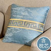 新中式靠枕套含芯床头大靠背沙发抱枕靠垫 客厅 现代简约 凤诏云霄 蓝色(含芯)