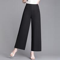 新款中年女装夏装九分裤妈妈装时尚宽松阔腿裤大码高腰直筒长裤