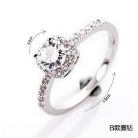 创意饰品 情侣戒指女 仿真钻戒求婚戒指