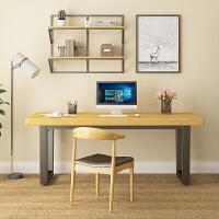 美式书桌简约办公桌写字台家用电脑做桌实木书画桌铁艺书法桌子ll