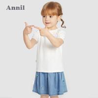 【1件5折价:59.5】安奈儿童装女童T恤短袖2021夏新款洋气绣花宝宝纯棉上衣柔软薄款