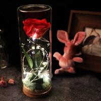 母节礼物永生花礼盒玻璃罩康乃馨玫瑰花干花diy送妈妈爱人长辈
