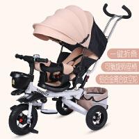 儿童三轮车脚踏车儿童三轮车小孩脚踏车1-3岁折叠可坐可骑旋转座婴儿手推车LYZT47