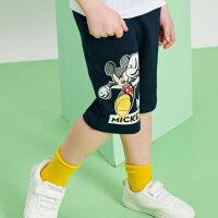 迪士尼童装2020年夏装新款男童休闲短裤米奇趣味印花五分裤洋气潮