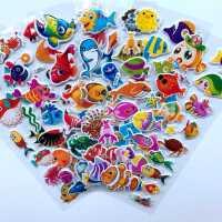 儿童玩具海洋生物海底小鱼小贴纸海豚鲨鱼立体3d卡通泡泡粘贴贴画