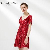 红色绣花连衣裙女2019春季高腰圆领短袖套头绑带连身裙太平鸟女装