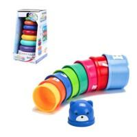 婴儿童玩具0-1岁七彩套圈音乐彩虹塔不倒翁层层叠套杯早教玩具