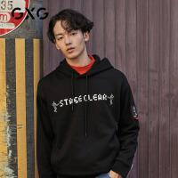 GXG男装  秋季男士韩版潮流字母印花双色套头连帽卫衣上衣男