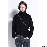 羊绒衫女高领套头加厚毛衣宽松时尚扭花针织打底衫