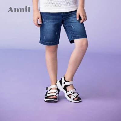 【3件3折:80.7】安奈儿童装男童牛仔短裤子夏装新款时尚中大童五分裤薄款中裤 撞色后袋,绣花点缀,棉弹面料,活动自如