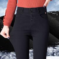 高腰排扣打底裤女外穿秋冬加绒新款黑色修身弹力显瘦小黑裤