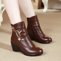 妈妈鞋冬季坡跟短靴中老年女士棉靴保暖中跟女棉鞋
