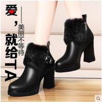 女鞋短靴高跟女士雪地靴骑士马丁靴女鞋真兔毛潮粗跟厚底棉鞋1711