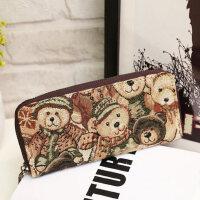 新款韩版维尼小熊长款钱包 女士帆布拉链学生零钱包横款钱夹