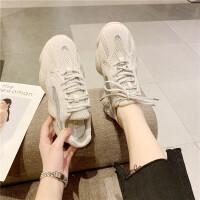 运动休闲鞋女2019新款时尚圆头松糕厚底透气跑步鞋英伦风老爹鞋潮