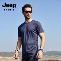 吉普(JEEP)短袖T恤男士棉圆领休闲短袖 时尚潮流简约运动小衫