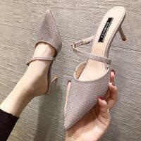 新款亮片浅口女士单鞋 韩版懒人尖头凉拖鞋女 时尚后空细跟女高跟鞋包头凉拖女