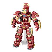 微钻小颗粒积木高达变形机械战士钢铁侠机甲模型拼装拼插玩具儿童女孩男孩生日礼物