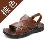 2019新款夏季男士休闲凉鞋男头层牛皮时尚沙滩鞋中老年凉拖鞋
