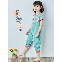 夏季儿童连体睡衣短袖薄宝宝睡衣防踢空调服防着凉动物