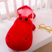 鳄鱼毛绒玩具河马玩偶抱枕公仔布娃娃睡觉靠垫宝宝节日礼物 红色河马 70cm【晒图有红包】