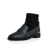哈森旗下爱旅儿女鞋弹力透气复古帅气短靴